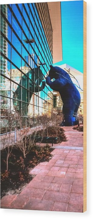 Reflect Wood Print featuring the photograph Blue Bear Convention Center 5214 by Jerry Sodorff