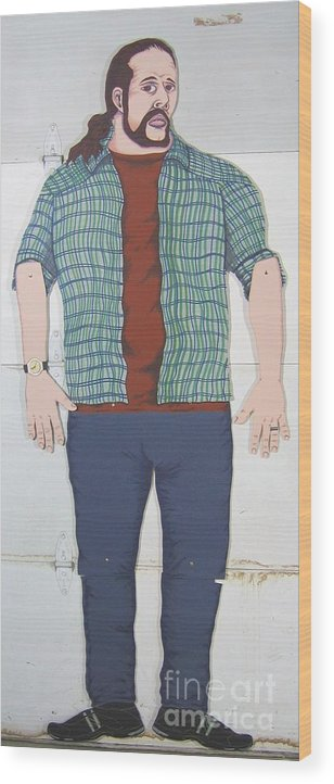 Self Portrait Wood Print featuring the mixed media Self Portrait In Full Scale by Mack Galixtar
