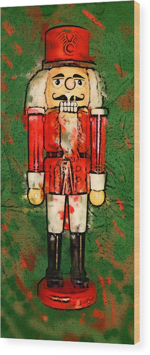 Christmas Wood Print featuring the digital art Nutcracker by Geoff Strehlow