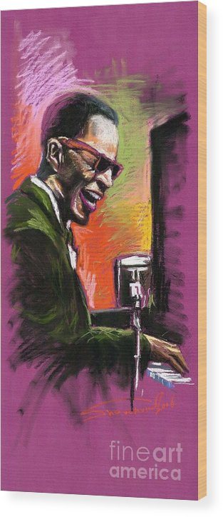 Wood Print featuring the painting Jazz. Ray Charles.2. by Yuriy Shevchuk