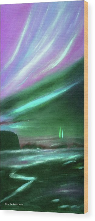 Sunset Wood Print featuring the painting Peace Is Colorful 2 - Vertical Painting by Gina De Gorna