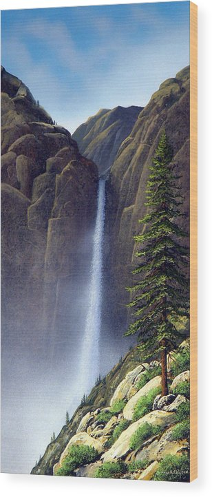 Wilderness Wood Print featuring the painting Waterfall by Frank Wilson