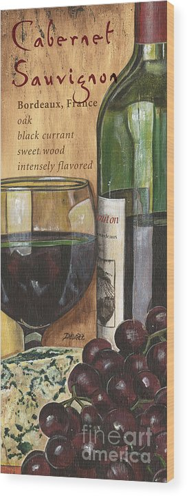 Cabernet Wood Print featuring the painting Cabernet Sauvignon by Debbie DeWitt