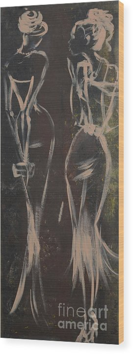 Drawing Wood Print featuring the painting Party Ladies by Roni Ruth Palmer