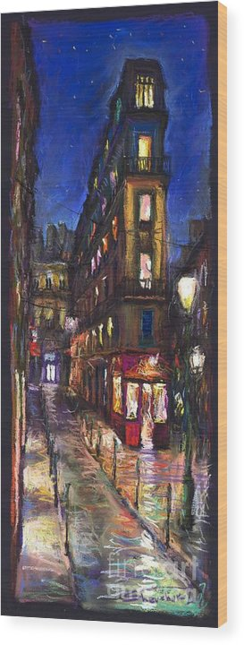 Landscape Wood Print featuring the painting Paris Old Street by Yuriy Shevchuk