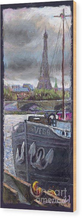 Pastel Wood Print featuring the painting Paris Pont Alexandre IIi by Yuriy Shevchuk