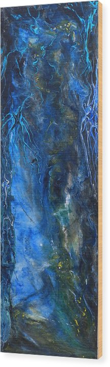 Abstract Acrylic Painting Wood Print featuring the painting Blue Wonder by Jean Groberg