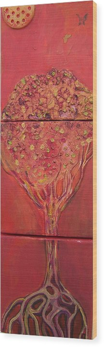 Tree Wood Print featuring the painting Autumn Tree by Angela Dickerson