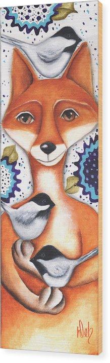 Fox Wood Print featuring the painting Chickadee Fox by Deb Harvey