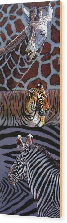 Animals Wood Print featuring the painting Designs For Defense And Offense by John Lautermilch