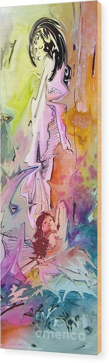 Miki Wood Print featuring the painting Eroscape 09 1 by Miki De Goodaboom