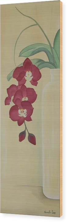 Marinella Owens Wood Print featuring the painting Pink Orchide In A Vase by Marinella Owens