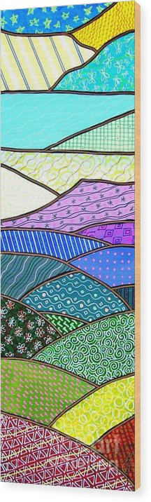 Mountain Wood Print featuring the painting Quilted Mountain by Jim Harris