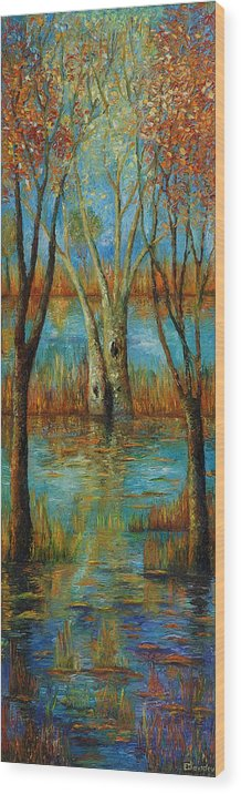 Landscape Wood Print featuring the painting Water - Left Part Of Triptych. by Evgenia Davidov