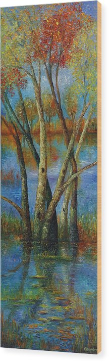 Landscape Wood Print featuring the painting Water - Right Part Of Triptych. by Evgenia Davidov