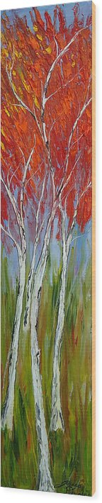 Wood Print featuring the painting Red Trees Of Autumn by Dunbar's Modern Art