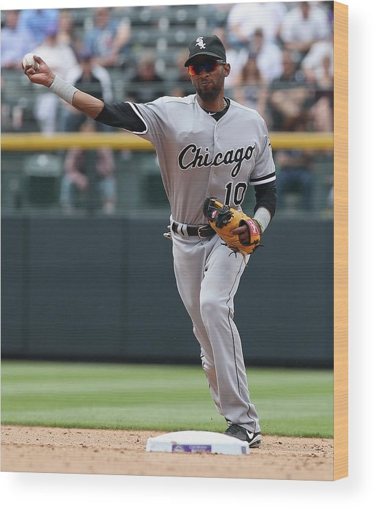American League Baseball Wood Print featuring the photograph Chicago White Sox V Colorado Rockies by Doug Pensinger