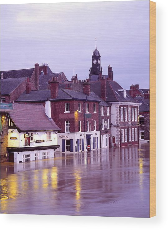 Flooded Wood Print featuring the photograph Flooded Buildings by Simon Fraser/science Photo Library