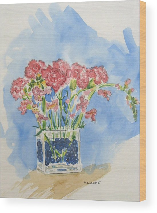 Flowers Wood Print featuring the painting Flowers In A Vase by Mary Ellen Mueller Legault