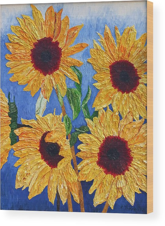 Sunflowers Wood Print featuring the painting Sunflowers by Chris Torre