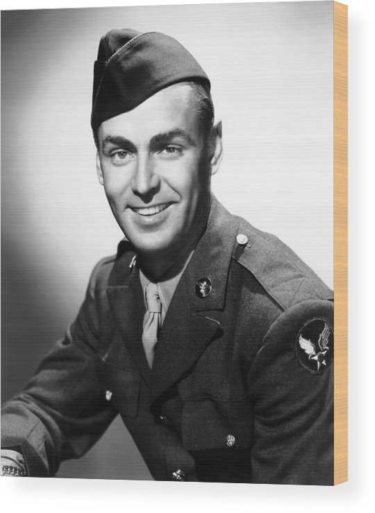1940s Portrait Wood Print featuring the photograph Army Air Force Corporal Alan Ladd, 1943 by Everett