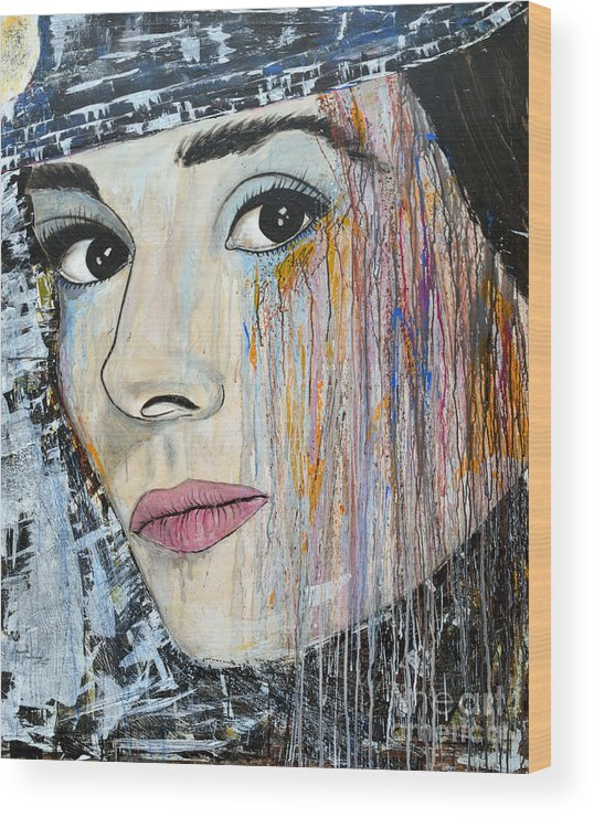 Abstract Painting Wood Print featuring the painting Audrey Hepburn-abstract by Ismeta Gruenwald