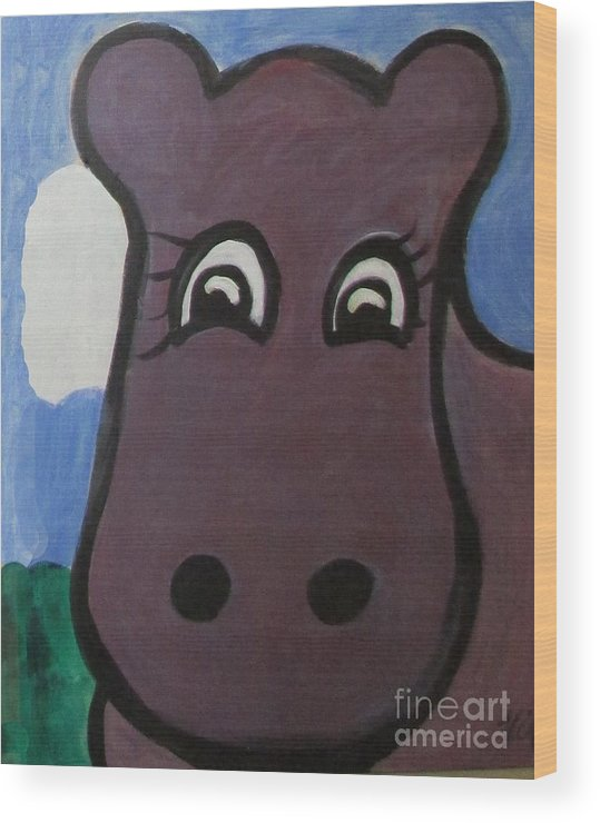 Hippo.child Wood Print featuring the painting Baby Hippo by Lyn Vic