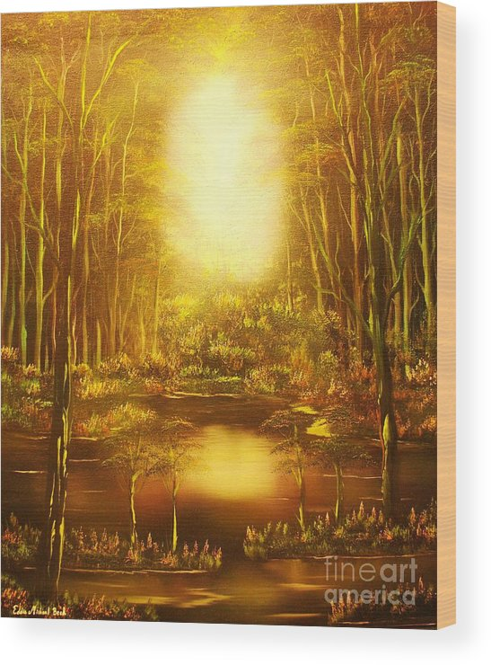 Landscape Wood Print featuring the painting Blinding Light-original Sold-buy Giclee Print Nr 36 Of Limited Edition Of 40 Prints  by Eddie Michael Beck