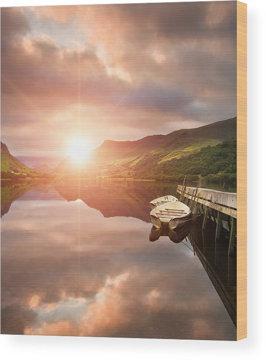 Landscape Wood Print featuring the photograph Boating Lake Sunrise by Matthew Gibson