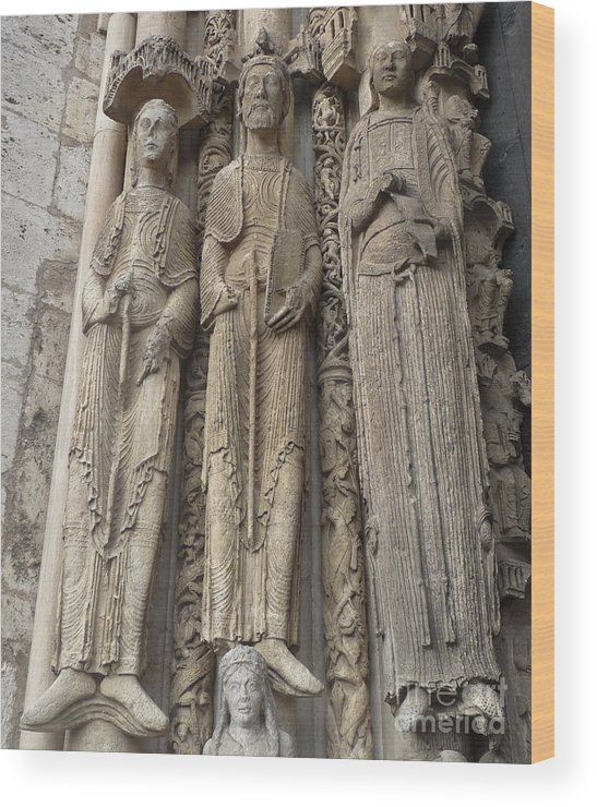 Chartres Wood Print featuring the photograph Chartres Cathedral Saints by Deborah Smolinske