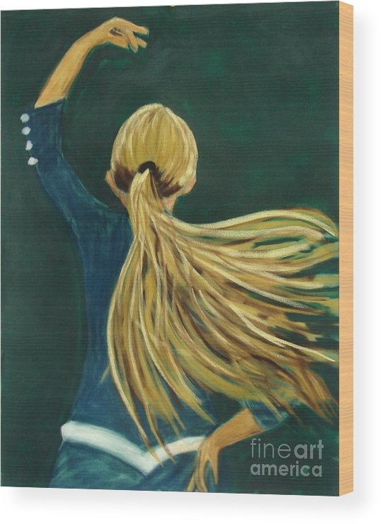 Dancer Wood Print featuring the drawing Dancer With Hair by Joseph Hawkins