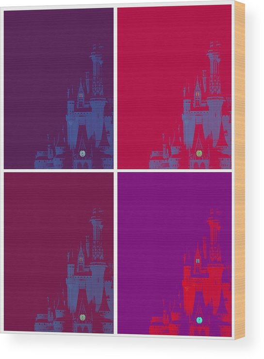 Disney Wood Print featuring the photograph Disney Castle In Purples by Jenny Hudson
