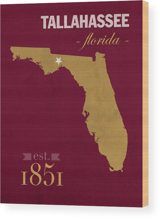 Florida State University Seminoles Tallahassee Florida Town State Map  Poster Series No 039 Wood Print