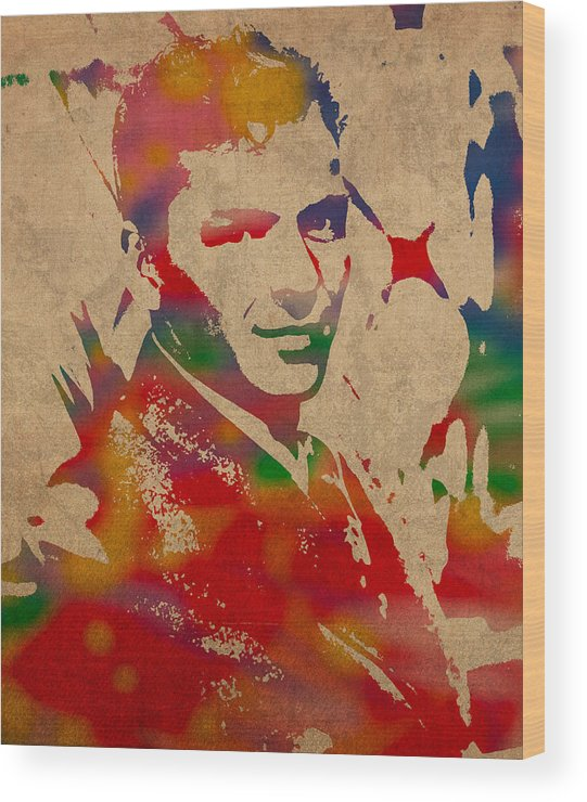 Frank Wood Print featuring the mixed media Frank Sinatra Watercolor Portrait On Worn Distressed Canvas by Design Turnpike