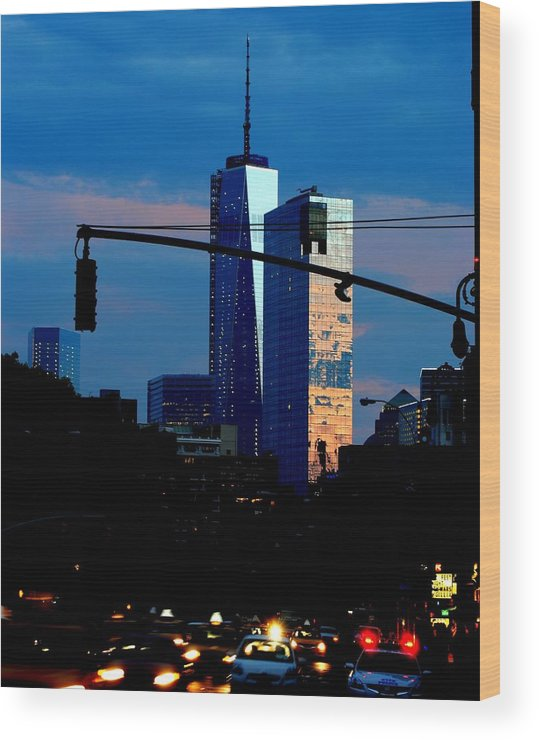 New York Wood Print featuring the photograph Freedom Tower New York Ny At Dusk by Ron Bartels