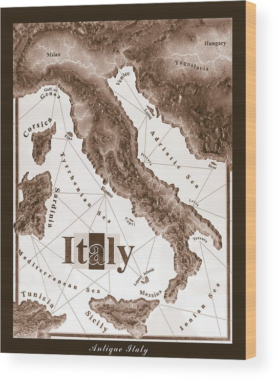 Italian Wood Print featuring the mixed media Italian Map by Curtiss Shaffer