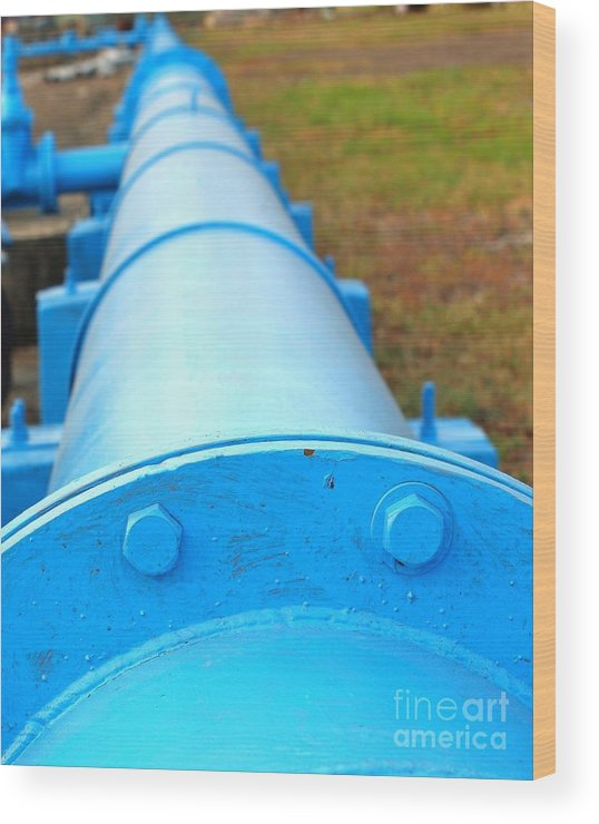 Pipe Wood Print featuring the photograph Large Blue Pipeline by Yali Shi