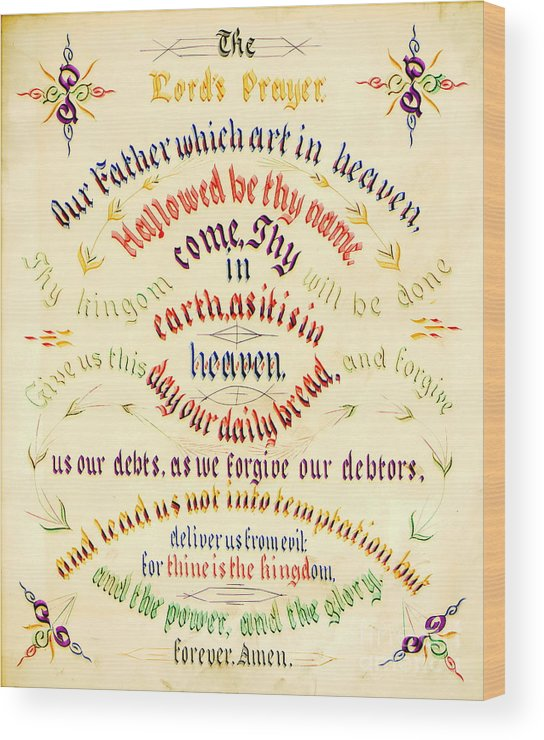 Lord's Prayer Calligraphy 1889 Wood Print featuring the photograph Lord's Prayer Calligraphy 1889 by Padre Art