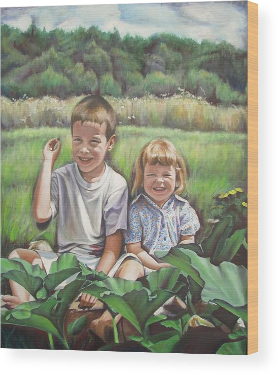 Sister Wood Print featuring the painting My Little Sister by Sheila Diemert
