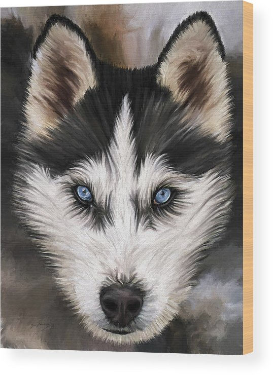 Dog Art Wood Print featuring the painting Nikki by David Wagner