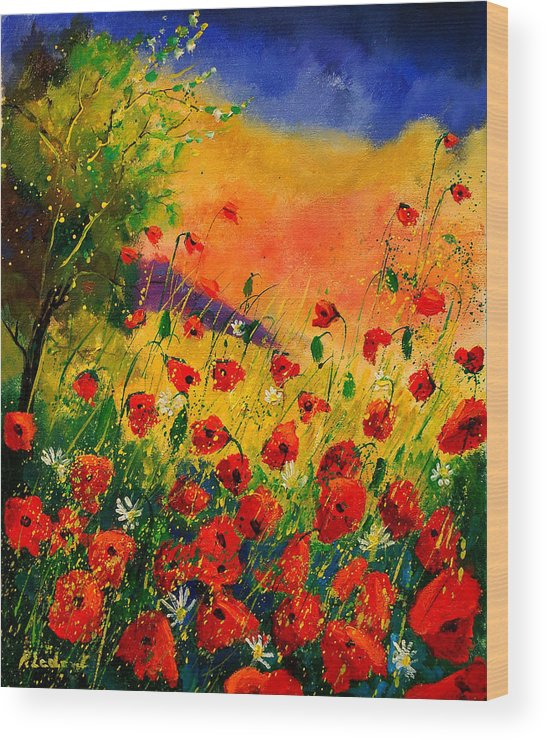 Poppies Wood Print featuring the painting Red Poppies 45 by Pol Ledent