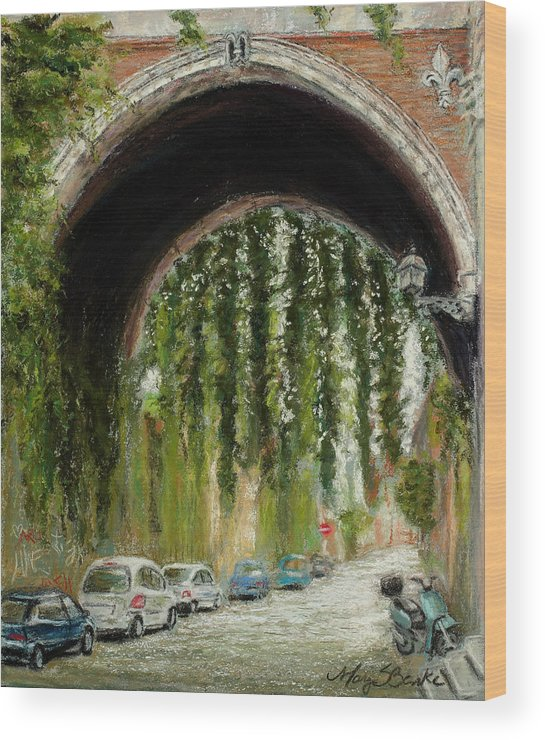 Pastel Wood Print featuring the painting Rome Street Scene by Mary Benke