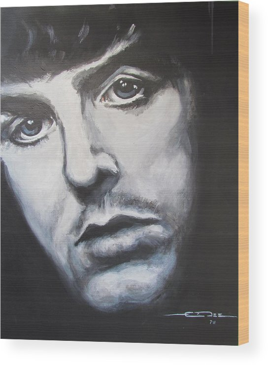 Celebrity Portrait Paul Mccartney During The Beatles Era. Wood Print featuring the painting Sir Paul Mccartney by Eric Dee