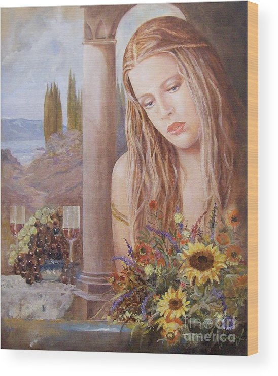 Portrait Wood Print featuring the painting Summer Day by Sinisa Saratlic
