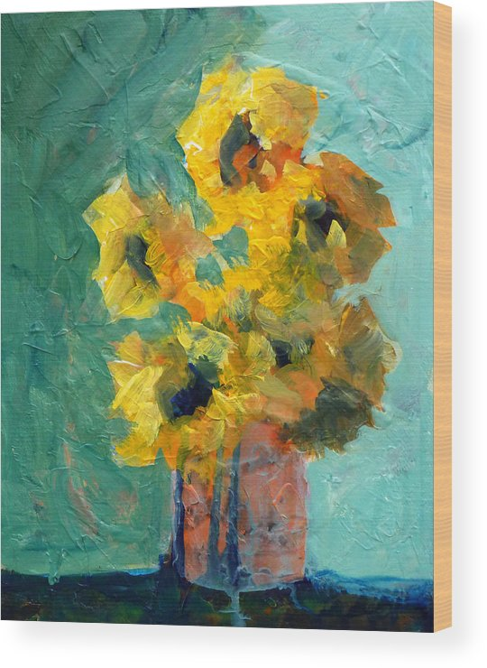 Abstract Wood Print featuring the painting Sun And Shadow by Nancy Merkle