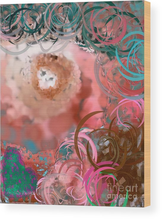 Eyes Wood Print featuring the digital art The Eyes Have It Peach by Holley Jacobs