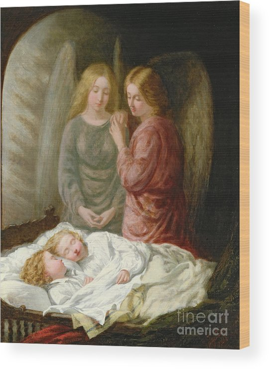 Sleeping Children; Benediction; Twins Wood Print featuring the painting The Guardian Angels by Joshua Hargrave Sams Mann