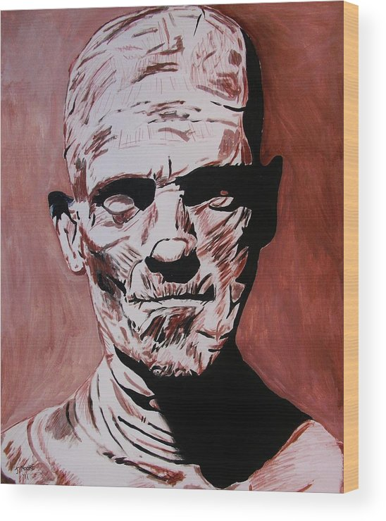 Mummy Boris Karloff Universal Monster Horror Movie Film Egypt Egyptian Wood Print featuring the painting The Mummy by Jeremy Moore