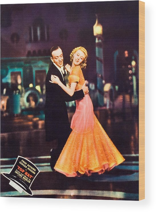1930s Movies Wood Print featuring the photograph Top Hat, From Left Fred Astaire, Ginger by Everett