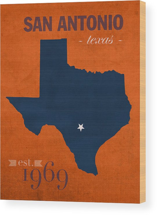 University Of Texas At San Antonio Wood Print featuring the mixed media University Of Texas At San Antonio Roadrunners College Town State Map Poster Series No 111 by Design Turnpike
